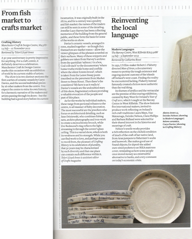 review in Crafts Magazine of MCDC commission